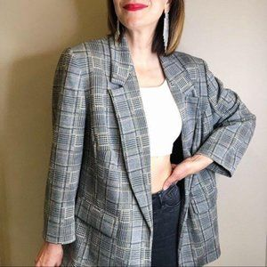 Jones Studio glen plaid grey longline blazer 1X